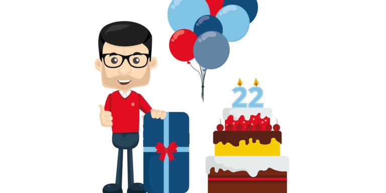 Lars med fødselsdagskage og balloner
