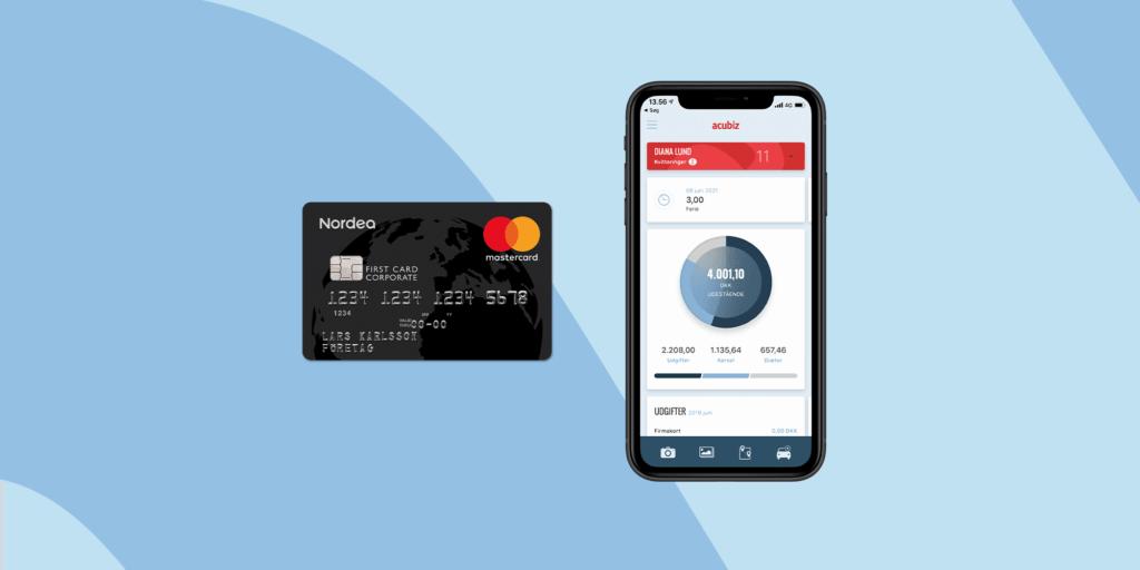 Nordea First Card firmakreditkort og mobil app'en Acubiz One