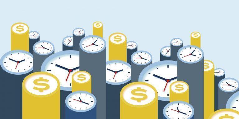 Grafik med ure og penge
